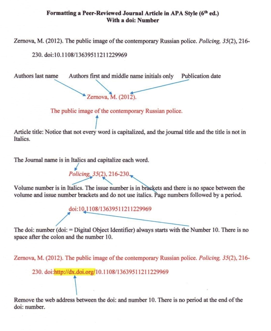 APA Style reference with a doi number