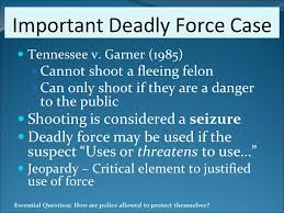 tennessee v garner 1985 Tennessee v garner, 471 u s 1 (1985)  garner, 471 us 1 (1985) tennessee v garner no 83-1035 argued october 30, 1984 decided march 27, 1985  471 us 1 syllabus a tennessee statute provides that, if, after a police officer has given notice of an intent to arrest a criminal suspect, the suspect flees or forcibly resists, the.